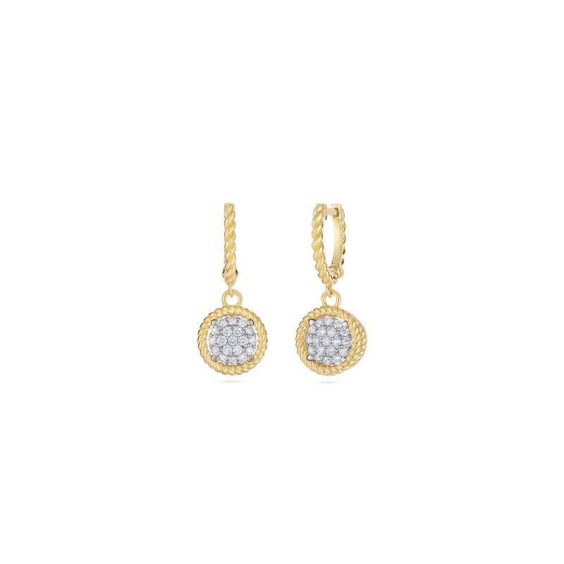 Roberto Coin 18Kt Gold Pave Circle Drop Earrings