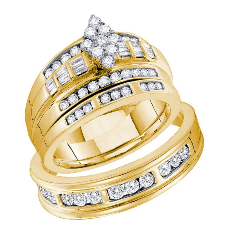 Kingdom Treasures 14kt Yellow Gold His & Hers Round Diamond Cluster Matching Bridal Wedding Ring Band Set 1.00 Cttw