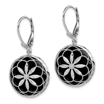Sterling Silver Rhodium-plated D/C Pattern Onyx Leverback Earrings