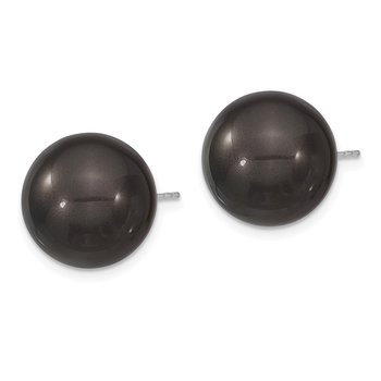 Sterling Silver Majestik Rh-pl 14-15mm Blk Imitat Shell Pearl Stud Earrings