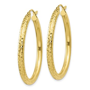 10k Diamond-cut 3mm Round Hoop Earrings