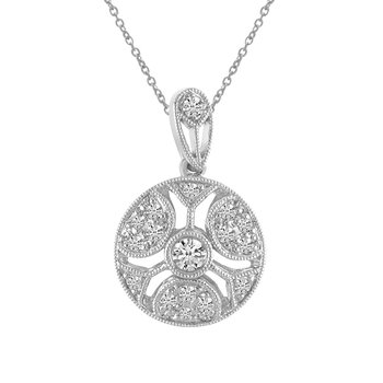 14K White Gold Round Antique Diamond Pendant