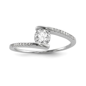 Sterling Silver Rhodium-plated CZ Bypass Ring