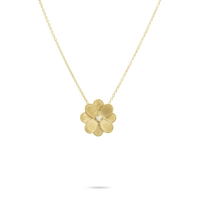 Marco Bicego Marco Bicego® Petali Collection 18K Yellow Gold and Diamond Small Flower Pendant