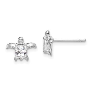 Sterling Silver Rhodium Plated CZ Turtle Post Earrings