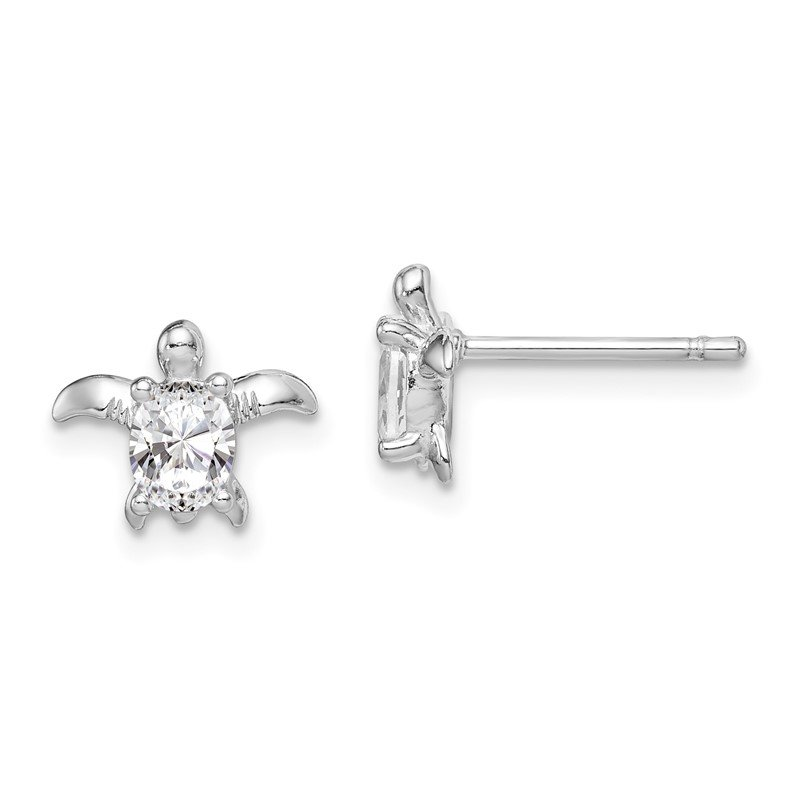 Quality Gold Sterling Silver Rhodium Plated CZ Turtle Post Earrings