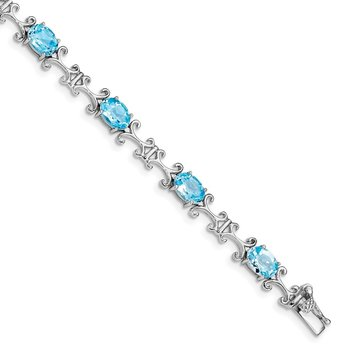 Sterling Silver Rhodium-plated Blue Topaz Oval Bracelet