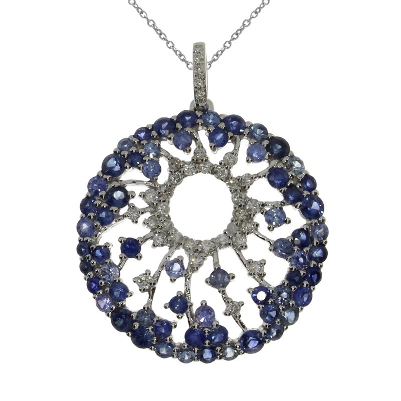 Color Merchants 14k White Gold Starburst Sapphire Pendant