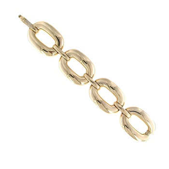 18Kt Yellow Gold Oval Link Bracelet With Diamond Accent