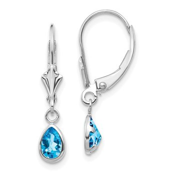 14k White Gold 6x4mm Blue Topaz/December Earrings
