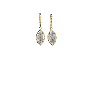 18KT YELLOW AND WHITE GOLD MARQUIS DROP EARRINGS WITH DIAMONDS