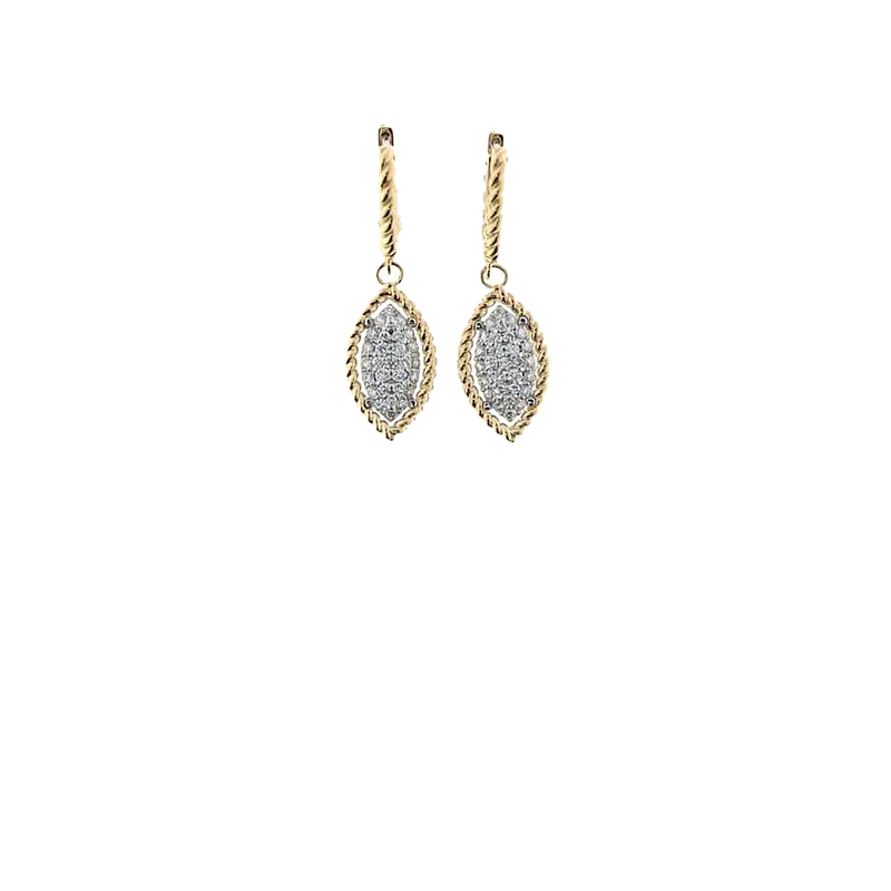 Roberto Coin 18Kt Yellow And White Gold Marquis Drop Earrings With Diamonds