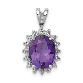 Sterling Silver Rhodium Oval Amethyst & Diamond Pendant