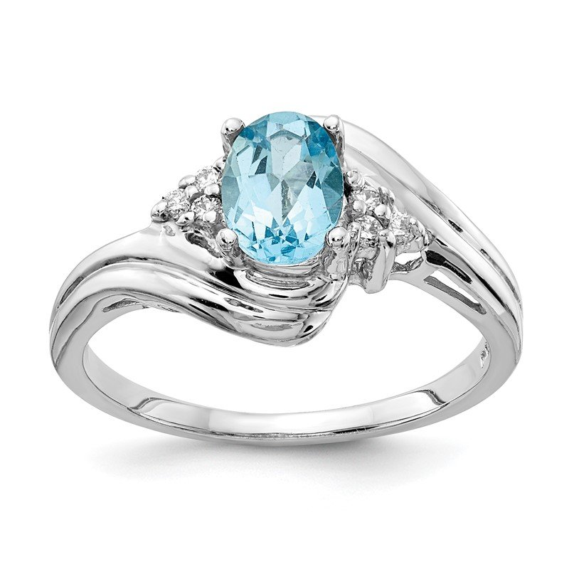 Quality Gold 14k White Gold 7x5mm Oval Blue Topaz A Diamond ring