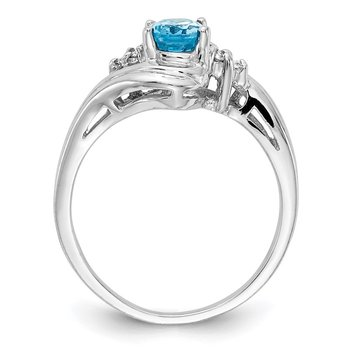 14k White Gold 7x5mm Oval Blue Topaz A Diamond ring