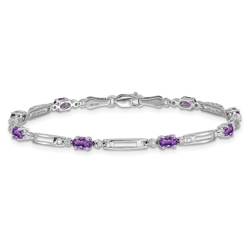 Quality Gold 14k White Gold Diamond and Amethyst Bracelet