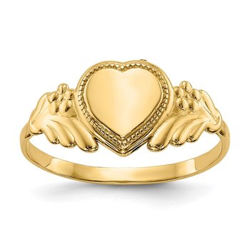 14k Polished Heart Baby Ring