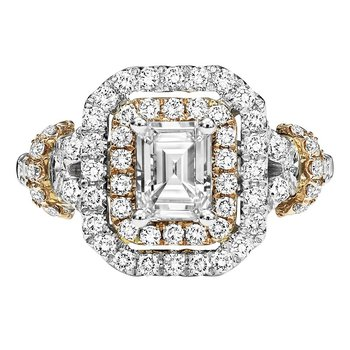 14K Diamond Engagement Ring 3/4 ctw With 3/4 ct Center