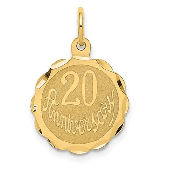 14K Happy 20th ANNIVERSARY Charm