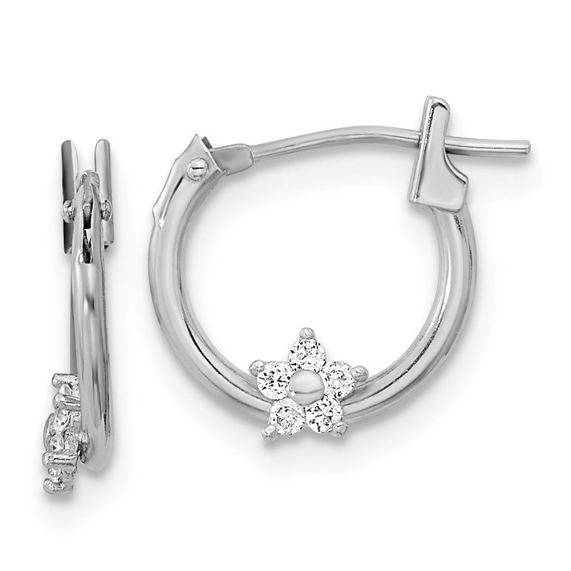Quality Gold 14k White Gold Madi K Polished CZ Star Hoops