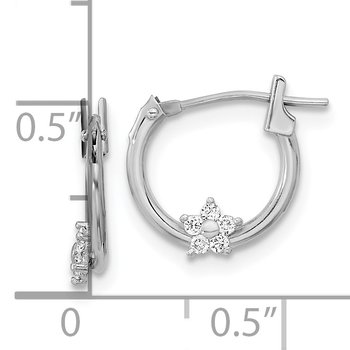 14k White Gold Madi K Polished CZ Star Hoops