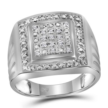 Sterling Silver Mens Round Diamond Square Frame Cluster Ring 1/10 Cttw - Size 9