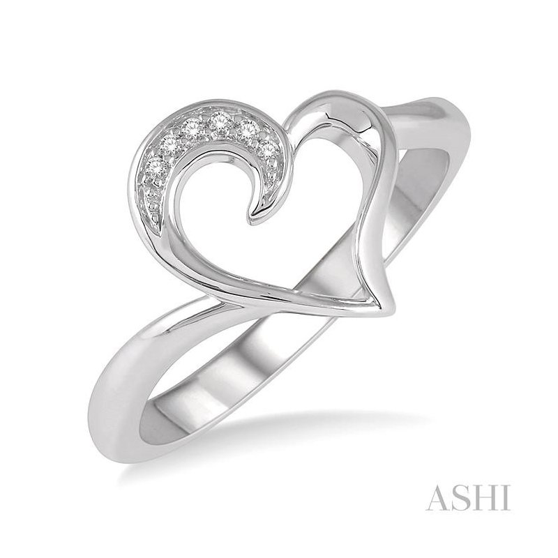 ASHI silver heart shape diamond ring