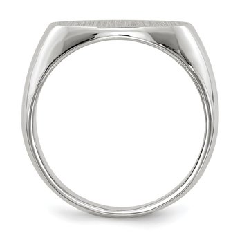 14k White Gold 11.0x16.5mm Closed Back Men's Signet Ring