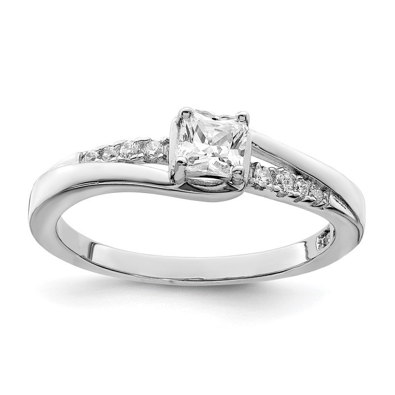 Quality Gold Sterling Silver Rhodium-plated Polished & CZ Ring