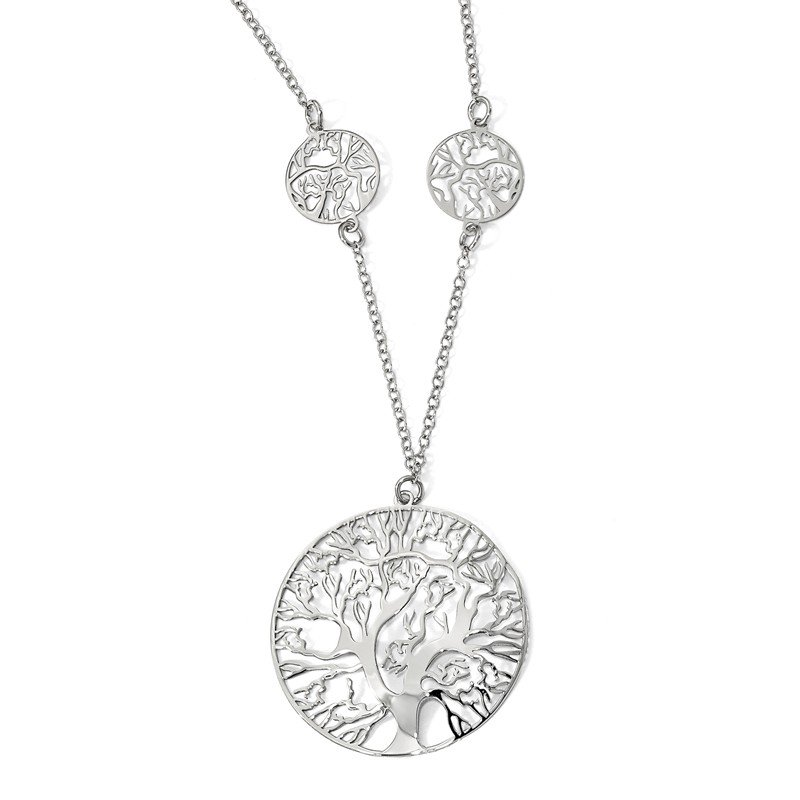 Leslie's Leslie's Sterling Silver Rhodium-plated Tree Necklace
