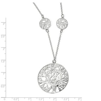 Leslie's Sterling Silver Rhodium-plated Tree Necklace