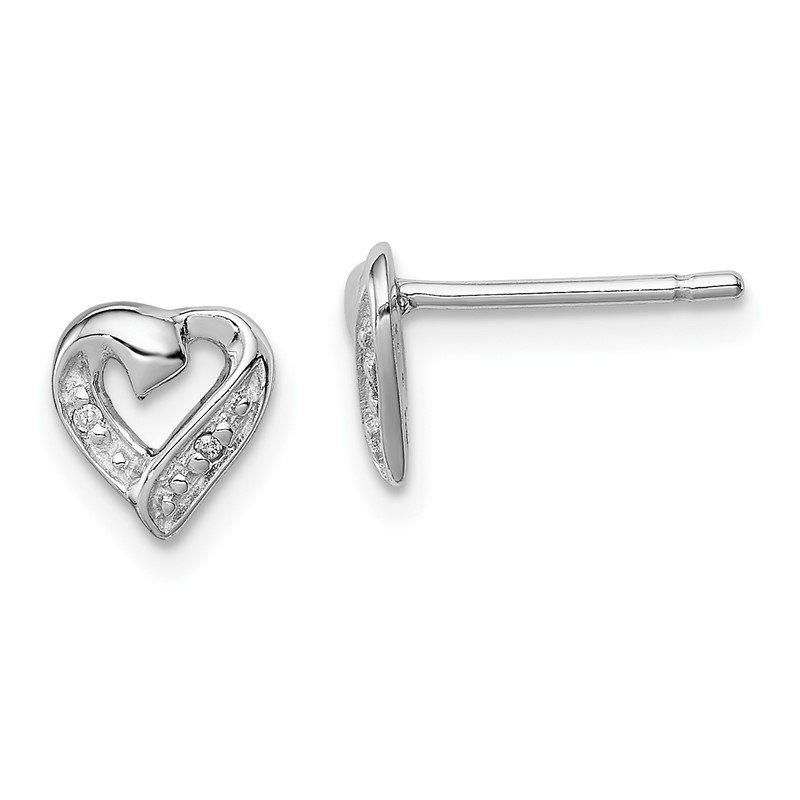 JC Sipe Essentials Sterling Silver Rhodium Diamond Heart Post Earrings