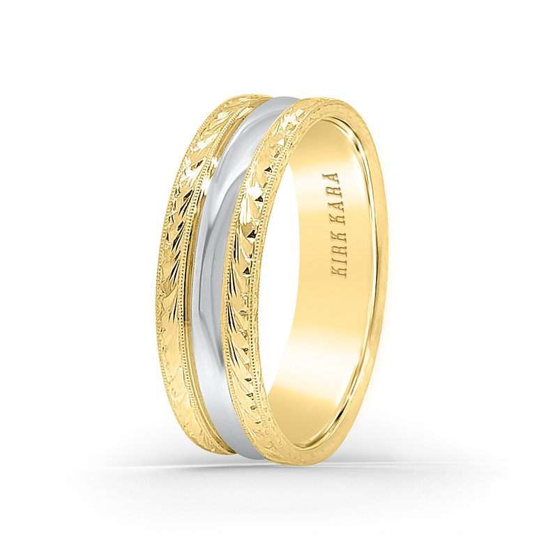 Kirk Kara Two-Tone Engraved Mens Wedding Band 7mm