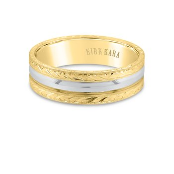 Two-Tone Engraved Mens Wedding Band 7mm