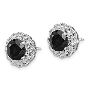 Sterling Silver Rhodium-plated Black Sapphire & Diamond Post Earrings