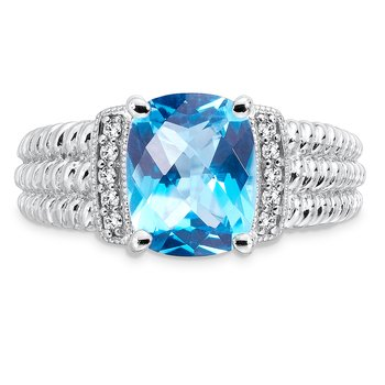 Sterling Silver Swiss Blue Topaz White Diamond Ring