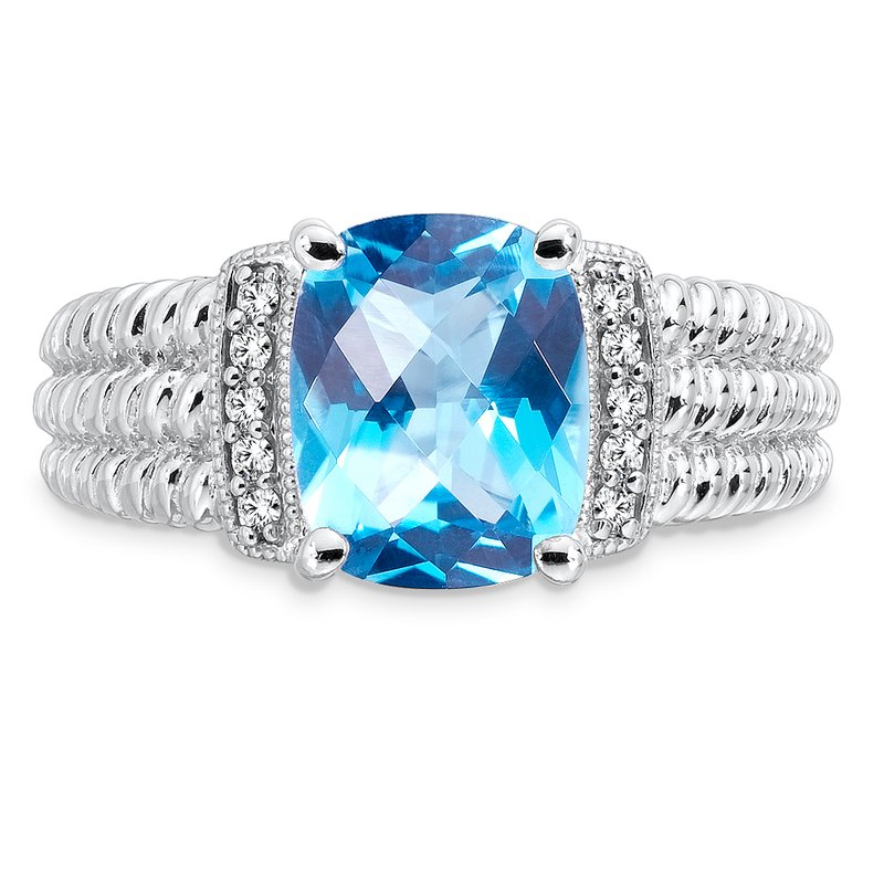 Colore Sg Sterling Silver Swiss Blue Topaz White Diamond Ring