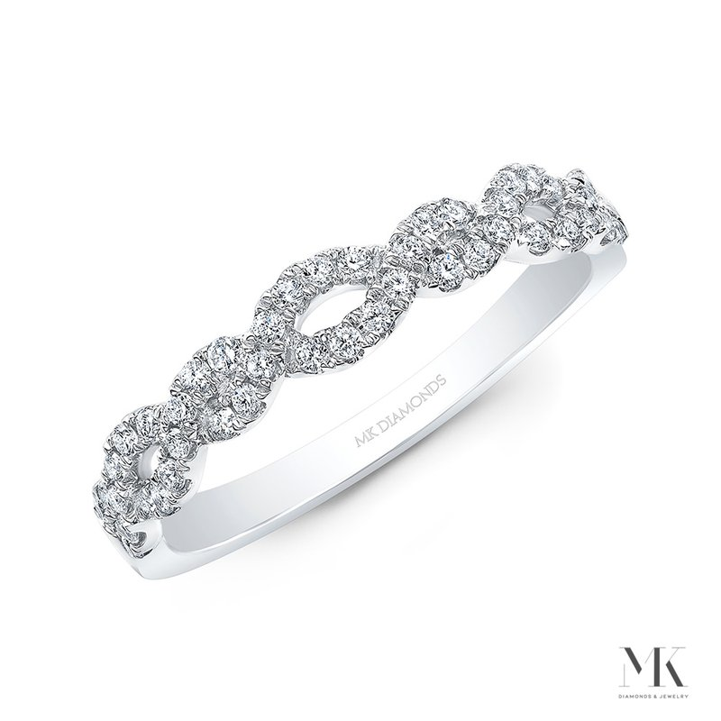 White Gold Braided Pave Band