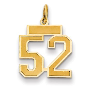 14k Small Satin Number 52 Charm