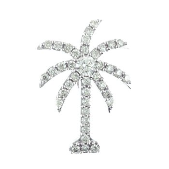 14K White Gold 1 Ct Diamond Palm Tree Pendant