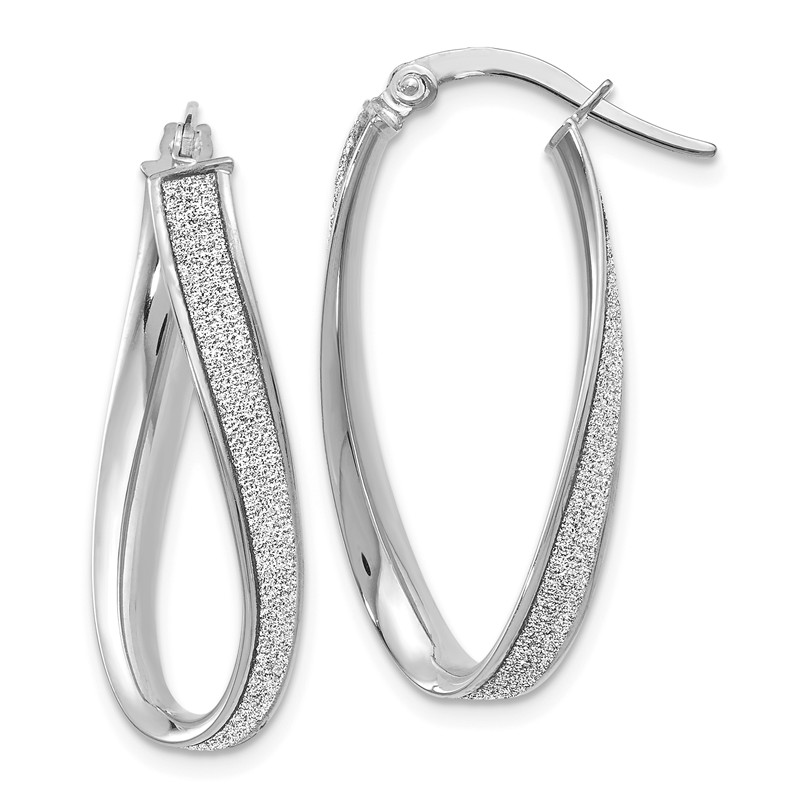 Leslies Real 14kt White Gold Polished Hoop Earrings