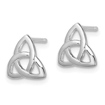 Sterling Silver Rhodium-plated Polished Celtic Knot Post Earrings