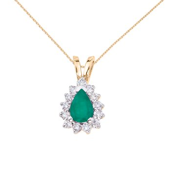 14k Yellow Gold 6x4 mm Pear Shaped Emerald and Diamond Pendant