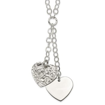 Sterling Silver Polished and Textured 2-Heart Fancy 18 inch Necklace