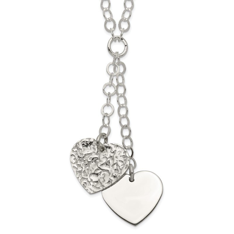 Quality Gold Sterling Silver Fancy 2-Heart Necklace