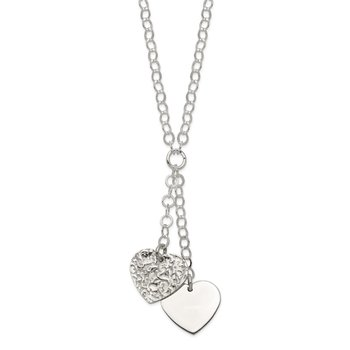 Sterling Silver Fancy 2-Heart Necklace