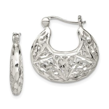 Sterling Silver Polished Filigree Hoop Earrings