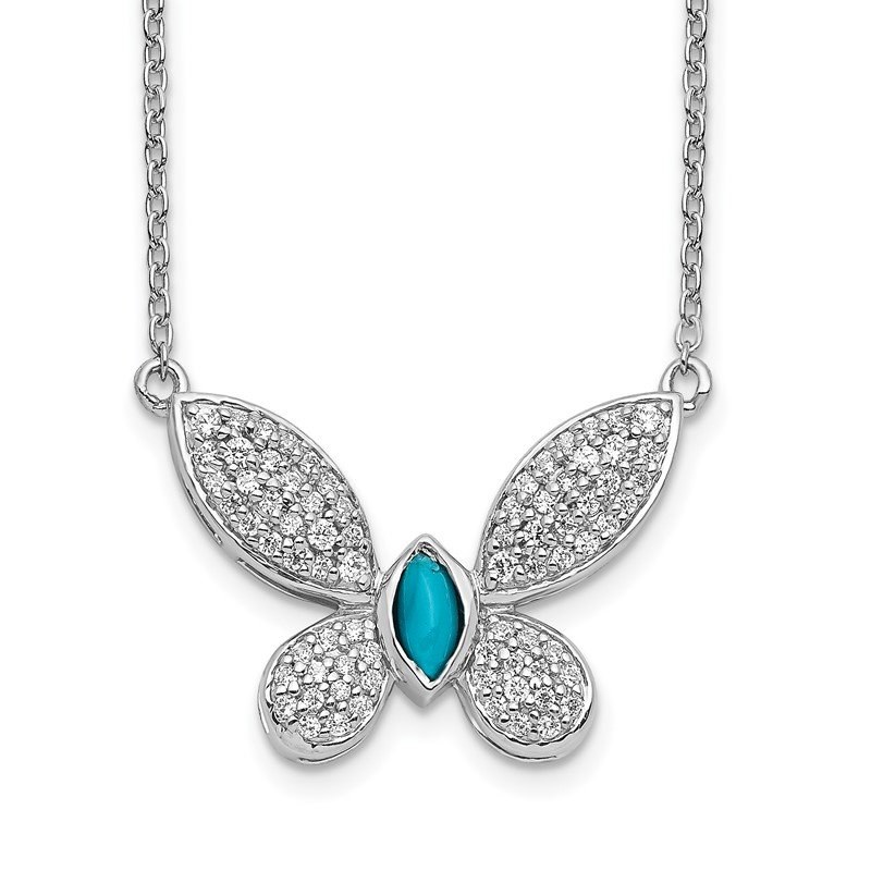 Quality Gold 14k White Gold Diamond and Turquoise Butterfly Necklace