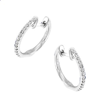 Diamond Mini Hoop Earrings in 14k White Gold with 26 Diamonds weighing .12ct tw.