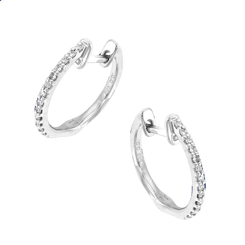 KC Designs Diamond Mini Hoop Earrings in 14k White Gold with 26 Diamonds weighing .12ct tw.